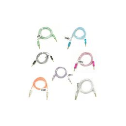 48 Units of Wholesale 3ft Long Round Auxiliary Cable in 7 Assorted Colors - Chargers & Adapters