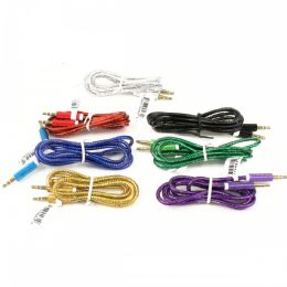 48 Units of Wholesale Round Wire Auxiliary Cable in 7 Assorted Colors - Chargers & Adapters