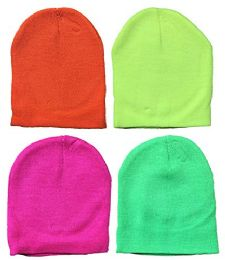 4 Units of Yacht & Smith Kids Winter Beanie Hat Assorted Colors Bulk Pack Warm Acrylic Cap (4 Pack Neon) - Winter Hats