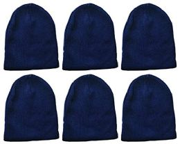 6 Units of Yacht & Smith Kids Winter Beanie Hat Assorted Colors Bulk Pack Warm Acrylic Cap (6 Pack Royal Blue) - Winter Hats