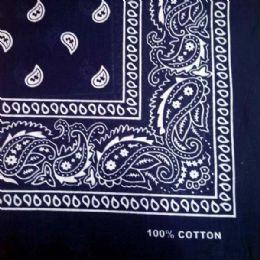 24 Units of NAVY BLUE PAISLEY BANDANA 22x22 Inch cotton - Bandanas