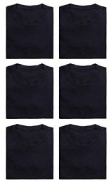 6 Units of Mens Cotton Crew Neck Short Sleeve T-Shirts Black, Medium - Mens T-Shirts