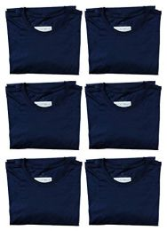 6 Units of Mens Cotton Crew Neck Short Sleeve T-Shirts Navy, Large - Mens T-Shirts