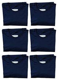 6 Units of Mens Cotton Crew Neck Short Sleeve T-Shirt Navy, Small - Mens T-Shirts