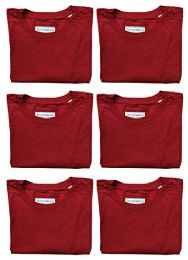 6 Units of Mens Cotton Crew Neck Short Sleeve T-Shirts Red, Small - Mens T-Shirts
