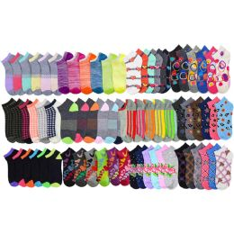 120 Units of Assorted Pack Of Womens Low Cut Printed Ankle Socks. - Womens Ankle Sock