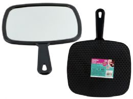 48 Units of Large Black Tv Hand Mirror - Cosmetics