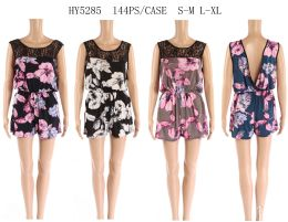 48 Units of Womens Printed Floral Romper Assorted Colors - Womens Rompers & Outfit Sets