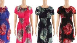 48 Units of Womens Leaf Printed Summer Dress - Womens Sundresses & Fashion