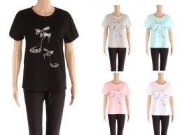 48 Units of Womens Rhinestone Shoe Print Tee Shirt - Womens Camisoles & Tank Tops