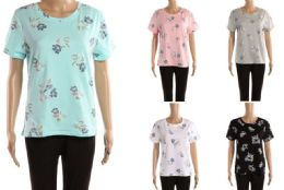 48 Units of Womens Floral Print Tee Shirt Assorted Colors - Womens Camisoles & Tank Tops