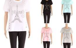 48 Units of Womens Tee Paris Print Assorted Color - Womens Camisoles & Tank Tops