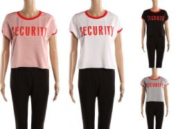 48 Units of Womens Tee Security Print Assorted Colors - Womens Camisoles & Tank Tops