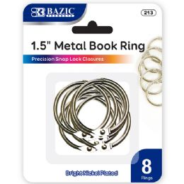 "48 Units of Bazic 1.5"" Metal Book Rings (8/pack) - Clips and Fasteners"