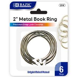 144 Units of Bazic 2 Metal Book Rings (6/pack) - Clips and Fasteners