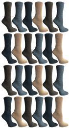 60 Units of SOCKS'NBULK Womens Crew Socks, Bulk Pack Assorted Chic Textured Socks, Multicolored - Womens Crew Sock