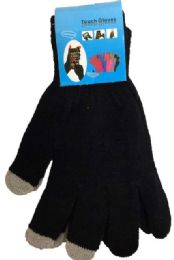 72 Units of Texting Gloves Lady's Size Black Color - Winter Gloves