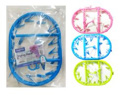 24 Units of Oval Clothes Laundry Drying Rack With 20 Clips - Clothes Pins