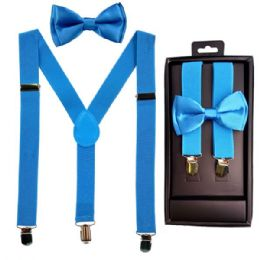 12 Units of Kids Suspenders And Bowtie Set In Light Blue - Suspenders