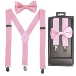 12 Units of Kids Suspenders And Bowtie Set In Light Pink - Suspenders