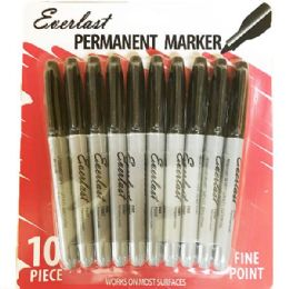 60 Units of 10 Piece Permanent Marker Black Color - Markers and Highlighters