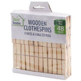 96 Units of 48 Piece Wooden Clothes Pins - Clothes Pins