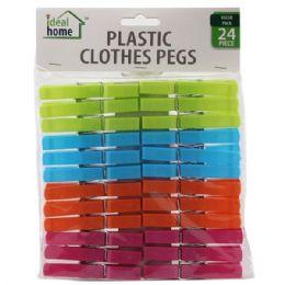 96 Units of 24 Piece Plastic Clothes Pins - Clothes Pins