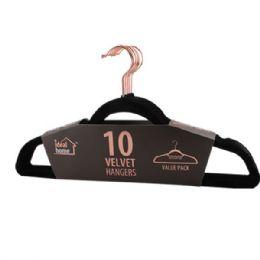 24 Units of 10 Pack Black Velvet Hanger - Hangers