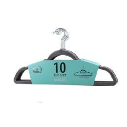 24 Units of 10 Pack Grey Velvet Hanger - Hangers