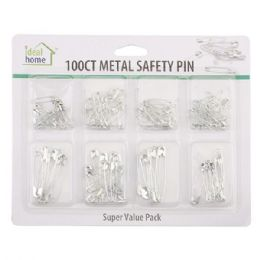 96 Units of 100 Count Metal Safety Pin - Sewing Supplies