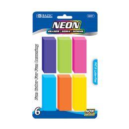 72 Units of BAZIC Neon Bevel Eraser (6/Pack) - Erasers
