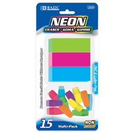 72 Units of Bazic Neon Eraser Sets ( 15/pack) - Erasers