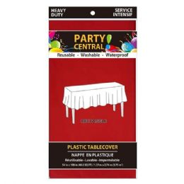 96 Units of Rectangle Red Plastic Table Cover - Table Cloth