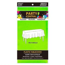 96 Units of Rectangle Green Plastic Table Cover - Table Cloth