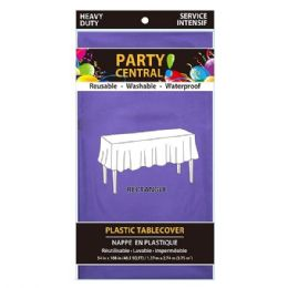 24 Units of Rectangle Purple Plastic Table Cover - Table Cloth