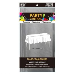96 Units of Rectangle Silver Plastic Table Cover - Table Cloth