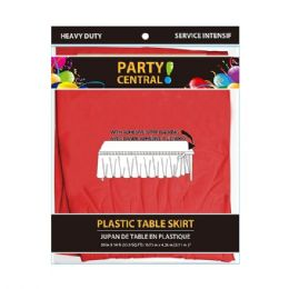 96 Units of Rectangle Red Plastic Table Skirt - Table Cloth