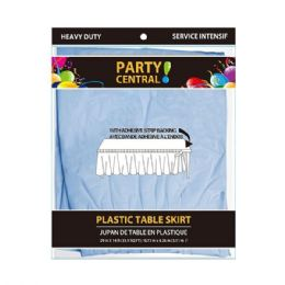 48 Units of Rectangle Light Blue Plastic Table Skirt - Table Cloth