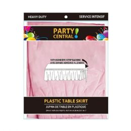 48 Units of Rectangle Pink Plastic Table Skirt - Table Cloth
