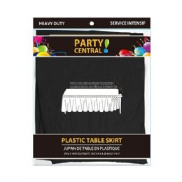 48 Units of Rectangle Black Plastic Table Skirt - Table Cloth