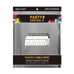 24 Units of Rectangle Silver Plastic Table Skirt - Table Cloth