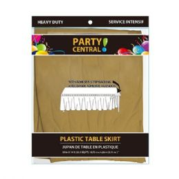 24 Units of Rectangle Gold Plastic Table Skirt - Table Cloth