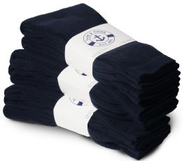 24 Units of Yacht & Smith Men's Cotton Terry Cushioned Crew Socks Navy Size 10-13 Bulk Packs - Mens Crew Socks