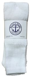 120 Units of Yacht & Smith Men's 22Inch Cotton Tube Socks, Referee Style, Size 10-13 Solid White BULK PACK - Mens Tube Sock