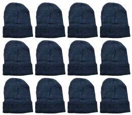 36 Units of Yacht And Smith Warm Winter Beanie Solid Black - Winter Beanie Hats