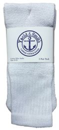 36 Units of Yacht & Smith Women's Cotton Tube Socks, Referee Style, Size 9-15 Solid White Bulk Pack - Womens Crew Sock