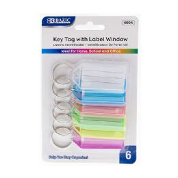 72 Units of BAZIC Key Tags with Holder & Label Window (6/Pack) - Key Chains
