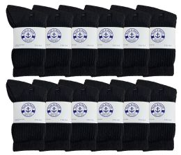 24 Units of Yacht & Smith Kids Cotton Terry Cushioned Crew Socks Black Size 6-8 Bulk Pack - Boys Crew Sock