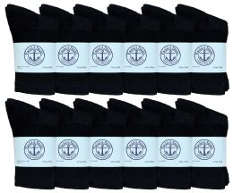 60 Units of Yacht & Smith Kids Premium Cotton Crew Socks Black Size 4-6 BULK PACK - Boys Crew Sock