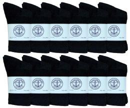 60 Units of Yacht & Smith Kids Cotton Crew Socks Black Size 4-6 Bulk Pack - Boys Crew Sock